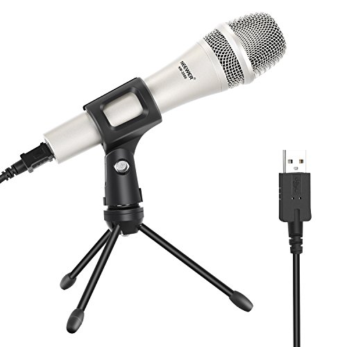 (Neewer Wired Handheld Vocal Dynamic Microphone for Windows and Mac with Microphone Clip, USB Cable, Mini Desktop Tripod Stand, 3/8