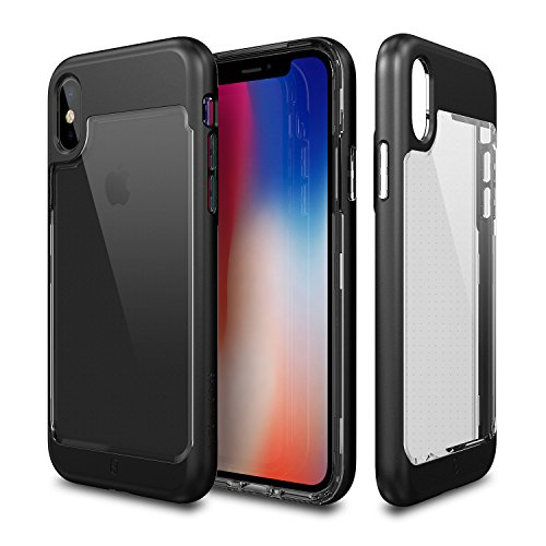 iPhone X Case, Patchworks [Contour Series] Hybrid Smudge-Free Clear Inner TPU Hard Matte Finish PC Frame Cover Military Grade Drop Tested Case [Wireless Charging] for iPhone X (2017) - Black