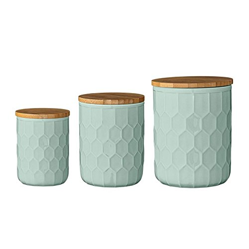 Bloomingville Ceramic Jar Set with Bamboo Lids, Mint Green Lid Mint
