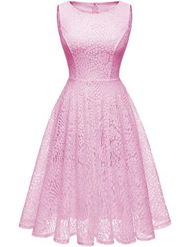 Kingfancy Guipure Lace Dresses, Lace Bridesmaid Dresses for Women Crew Neck Lace Wedding Dress for Evening Party Pink M