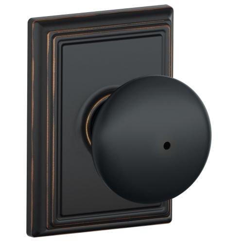 Schlage F40 Plymouth With Addison Rose Privacy Lock with 16080 Latch 10027 Strike Aged Bronze (Bronze Addison Button)