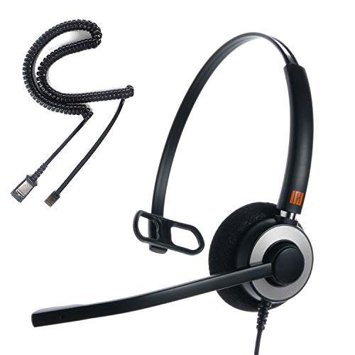 IPD IPH-160 Professional Monaural Noise Cancelling Call Center/Office Headset with U10P Bottom Cable Works with Polycom VVX,Aastra,Avaya/Lucent, Nortel,Mitel and Most of IP ()