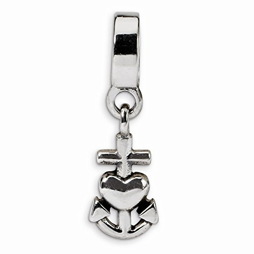 Sterling Silver Heart, Cross & Anchor Dangle Charm Bead Fits