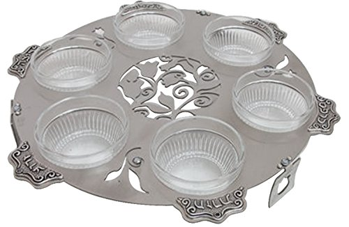 Majestic Giftware LASEPLC14 Round Passover Lazer Cut Seder Plate, 12-Inch