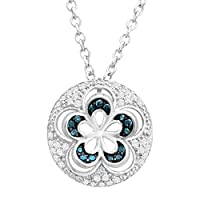 Deals on Finecraft 1/6 ct Blue & White Diamond Flower Pendant