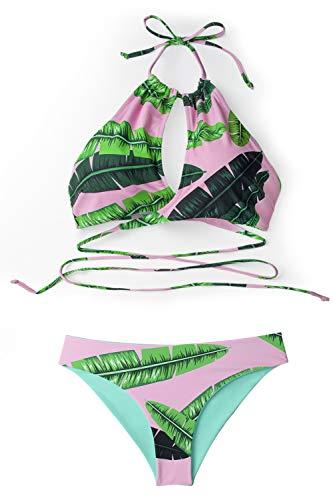 - CUPSHE Women's Pink Banana Leaf Print Wrap High Neck X-Small