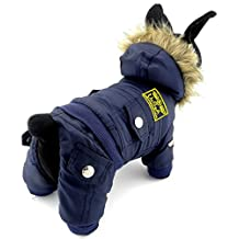 SELMAI Small Dog Apparel for Girls Boys Airman Fleece Winter Coat Snowsuit Hooded Jumpsuit Waterproof Blue XS