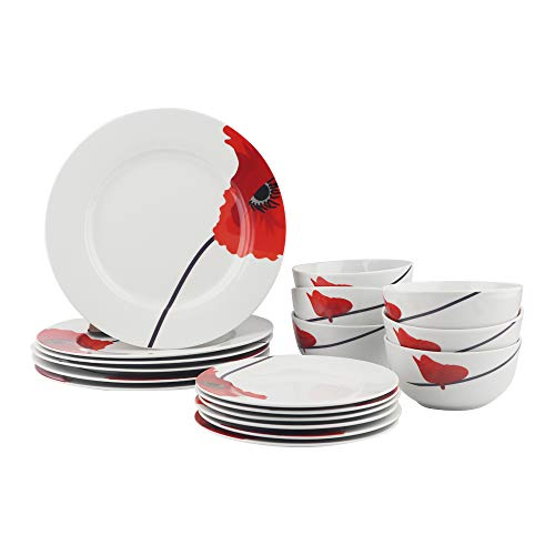 AmazonBasics 18-Piece Kitchen Dinnerware Set, Dishes, Bowls, Service for 6, Poppy (Red Set Plate)