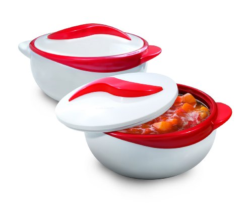 Pinnacle 2 Piece Thermo Dish Hot or Cold Casserole Serving Bowls with Lids (Enhancements Dinnerware Set)