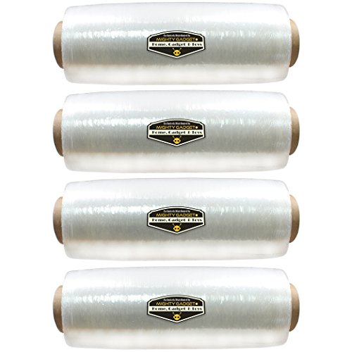 """4 Pack of Mighty Gadget (R) 15"""" x 1476 ft Stretch Moving & Packing Wrap. Pre-Stretched Plastic Film Wrap"""