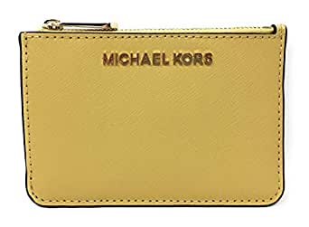 Michael Kors Jet Set Travel Small Top Zip Coin Pouch with ID Holder Saffiano Leather - 2019 Style 35F7GTVU1L / 35F7STVU1L - Yellow - Small