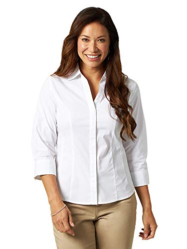 Riders by Lee Indigo Women's Bella 3/4 Sleeve Woven Shirt, Arctic White, Small (Best Iron For Business Shirts)