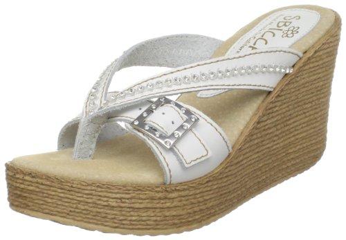 Sbicca Women's Horizon Thong Sandal,White,7 B (White Leather Platform Wedge Shoes)