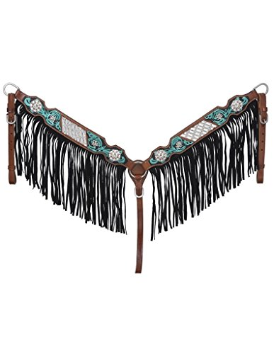 Tough-1 Silver Royal Ashton Breast Collar with Fringe