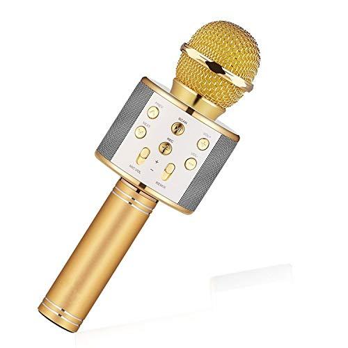 mikrofon WS858 Bluetooth Handheld Wireless Karaoke Microphone Phone Player MIC Speaker Record Music KTV Microfone for iPhone PC,Gold