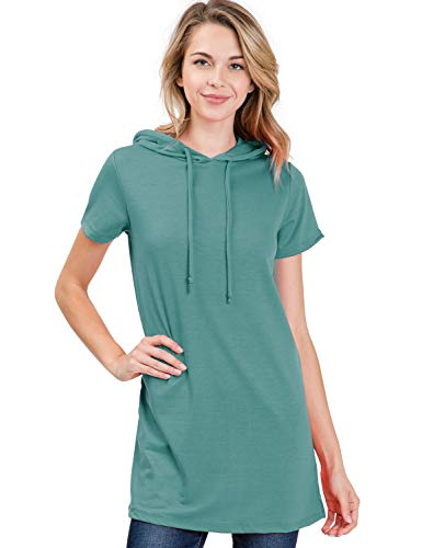 Doublju Loose Fit Hoodie Tunic Dress Hoodie Sweatshirts for Women with Plus Size (Made in USA) SAGE 2XL