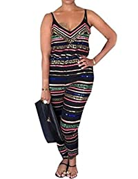 DOKER Women's Sexy Sleeveless Striped Printed Casual Romper Jumpsuits