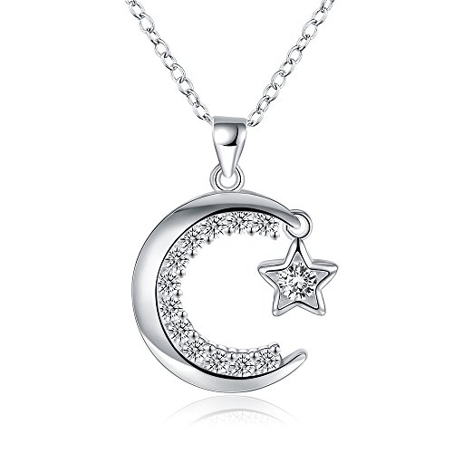 BEMI Elegant Pave AAA Zircon Moon Star Heart Pendant Necklace Mother Day Gift Chain Necklaces for Womens Star in the Moon