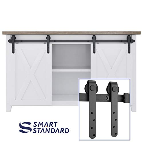 5ft Double Door Cabinet Barn Door Hardware Kit- Mini Sliding Door Hardware - for Cabinet TV Stand - Simple and Easy to Install - Fit 20 Wide Door Panel (Cabinet NOT Included) (Mini J Longer Hanger)