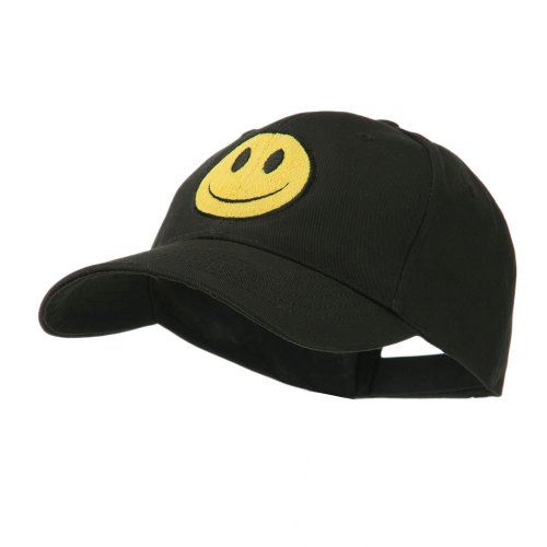 (E4hats Smiley Face Embroidered Cap - Black OSFM)