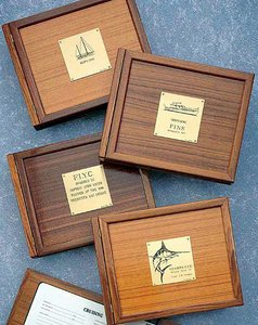 WEEMS & PLATH Boat Log Book Teak Cover (Sail Plate) (Plath & Weems Log)
