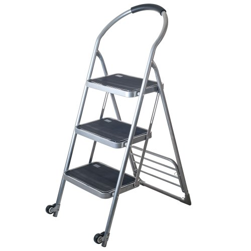 Stalwart  Step Ladder Dolly Folding Cart, Silver
