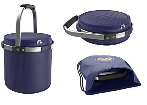 Travel Picnic Basket Premium Quality Insulated Collapsible Folding Cooler Bag for Beach, Park, Grill | Food and Drinks | Extra Large | Leak-proof | Use with Ice or Ice Packs | Storage Tote Bag inc.