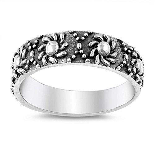 Sterling Silver Tribal Sun Bali Ring (Size 5 - 10) - (Tribal Sun Sterling Silver Ring)