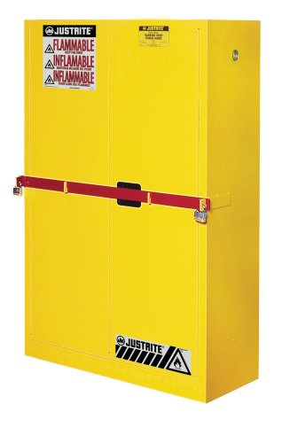 Justrite 29884Y Steel 2 Door Manual Close High Security Flammables Safety Cabinet with Draw Bar, 45 Gallon Capacity, 43