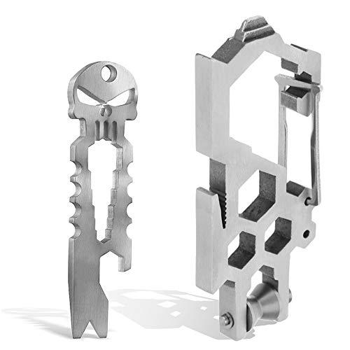 Stainless Steel Survival Punisher Pocket Pry Bar,EDC Carabiner, Skull Bottle Opener Multi Key Chain Tool Outdoor Pry Bar Pocket Tool Crank Crowbar Pocket Pry Bar Opener Keychain Pliers Screwdriver