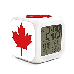 Canada-Maple-Leaf-icon-Simple Alarm Clock Displays Time Date and Temperature Soft Nightlight for Kids Home Office Bedroom Heavy Sleepers