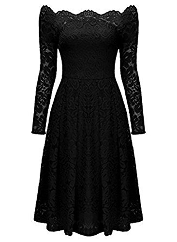 Lace Sumaida Vintage Swing Long Black Boat Women's Girls Cocktail Neck Formal Dresses Sleeve Floral rq5qt