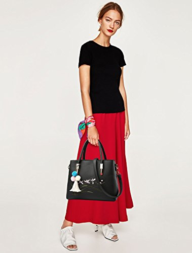 NICOLE amp;DORIS Sweet Handbag Large Waterproof Bag Women Leather Fashion Pink Bag Shoulder PU New Black Crossbody 44wTr