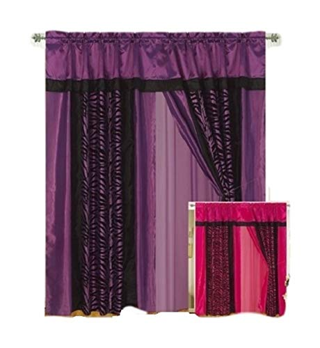 Black Flocking Printing - OctoRose Purple/Black Zebra Design Faux Silk and Flocking Printing Window Curtain/Drapes