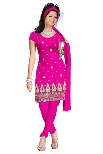 Vibes Women's Cotton Polyester Blend Embroidered Unstitched Dress Materials(VMF-219A_Pink)
