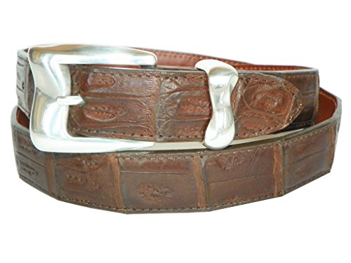 Charles Underwood Men's Genuine Crocodile Belt with Teton 2-Piece Buckle Set - Brown, Size 36