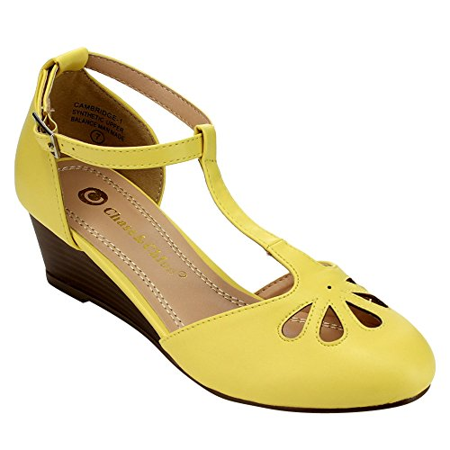 Chase & Chloe EC76 Womens Cut Out T-Strap Ankle Wraped Mid Wedge Pumps Yellow