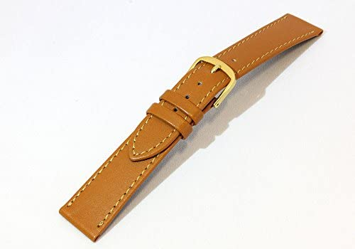 日本製 ミモザ社時計ベルト 17mm 薄型 牛革カーフプレーンタイプ時計バンド ゴールドブラウン ゴールド尾錠 抗菌防臭 CMH-K17-GP