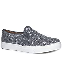 Round Toe Slip On Sneaker - Adorable Cushioned Glitter Shoe - Easy Everyday Fashion - Glimmer by