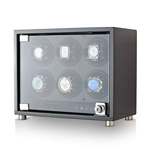Automatic Watch Winder for 6 Watches with LED Backlight, Remote Control and Telescopic Watch Holders (Carbon)
