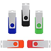 K&ZZ 16GB Colorful USB 2.0 Flash Drives Memory Stick Thumb Drives( 5PCS-Five Mixed Colors:Black Red Blue Green Orange)
