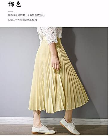 XiaoGao El Nuevo Larga Falda Falda Plisada Metalizada,S Negro ...