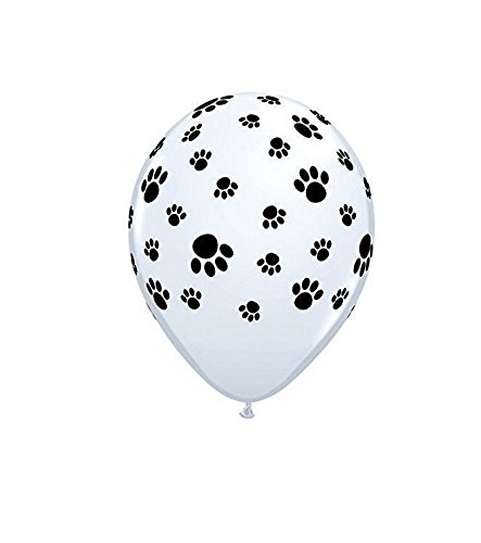 (Set of 25 12 Inches White Dog Paw Latex Balloon Helium Reusable Ballons For Happy Birthday Party Congratulation Decoration Anniversary Festival Graduation Bouquet Gift Idea Celebration)