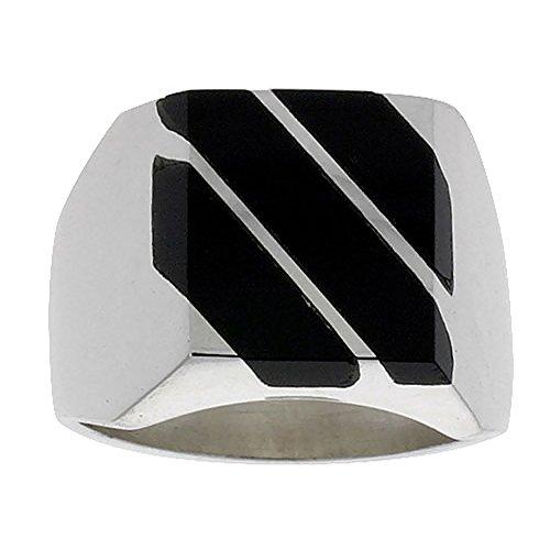 Sterling Silver Obsidian Diagonal Handmade