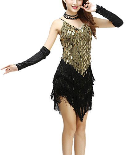 Beaded Dance Costumes (Whitewed Gold Fringe Beaded Latin Ballroom Dance Competition Dresses Costumes, Gold, X - Small / Small)