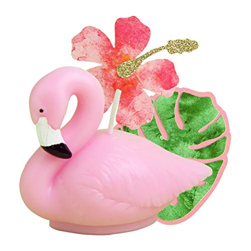 - Amosfun 3 Pcs Creative Cake Toppers Children's Birthday Party Cake Decoration Supplies for Kids Birthday Baby Shower Party (Flamingo Candle/Brown Picking Leaf/Fuso Flower Topper)