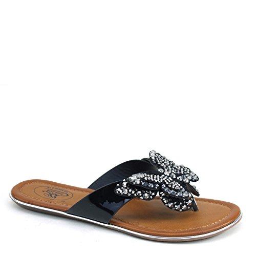 Brieten Womens Flat Rhinestone Flip-Flop Butterfly Shoes Black uWNRhkJ6