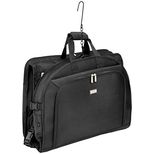 AmazonBasics Premium Tri-Fold Travel Hanging Garment Bag - 52 Inch, Black