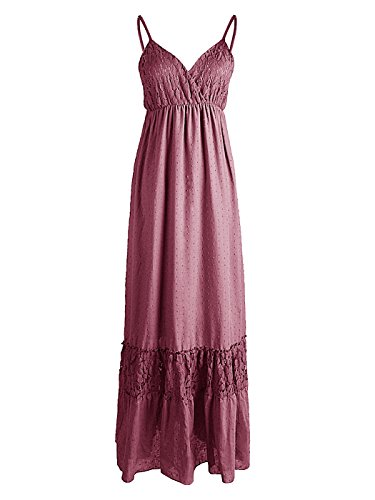 Anna-Kaci Womens Adjustable Spaghetti Strap Sleeveless Long Lace Boho Dress, Pink, Small