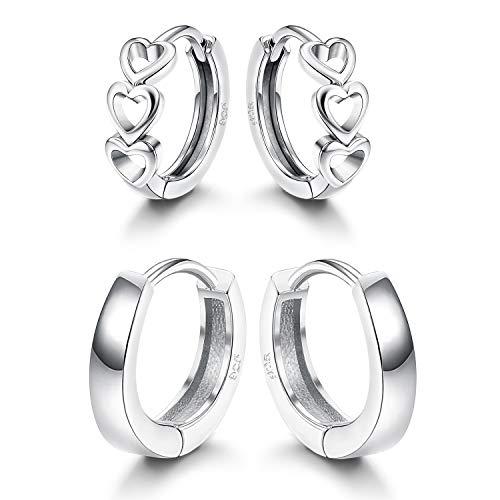 Fiasaso 2 Pairs 925 Sterling Silver Hoop Earrings for Women Small Huggie Earrings Set -
